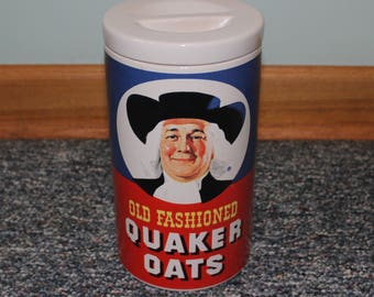 Cookie Jar Quaker Oats Porcelain Cookie Jar Vintage Old Fashioned Oatmeal Cookie Recipe Collectible Jar