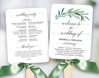 Greenery Wedding Fan Program, Printable Wedding Fan Program Template, Printable Wedding Programs, Editable text, Eucalyptus