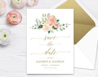 Peach Blush Floral Save the Date Template, Printable Save the Date Card, Wedding Save the Date, Editable Text, 5x7, Peach Gold