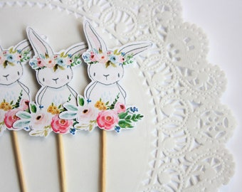 Bunny Cupcake Toppers. Bunny Theme. New Baby. First Birthday. Floral Theme. Floral Decor. White Bunny. Baby Shower. Birthday Party. Crown