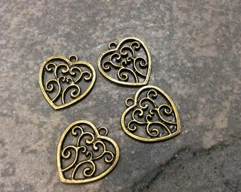 Antique bronze Filigree Heart Charms Package of 4 Charms Adjustable Bangle Charms Earring Findings