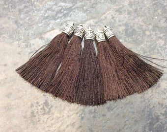 Chocolate Brown Silk tassels with Antique Silver Filigree Caps Beautiful tassels for Jewelry Making Fall Color Tassels
