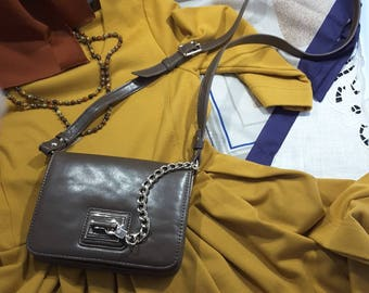 Classic Cross Body Bag in Sorrel Brown with Chunky Gold Chain Decoration