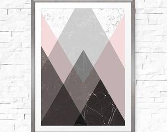 Geometric Printable, Mountain Art, Pink and Grey Decor, Mountains Artwork, Vertical Wall Art, Mountain Wall Art, Mountain Print, Nordic Art