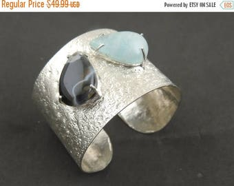 Fathers Day Sale 1 Pc Hammered Texture Cuff With Aquamarine and Agate Brass Designer bracelet-  925 silver plated  Gemstone Brass Adjustable