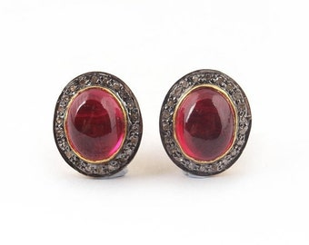 March Sale 1 Pair Pave Diamond Beautiful Ruby Studs With Back Stopper - 925 Sterling Vermeil Tops - 14mmx12mm ED172