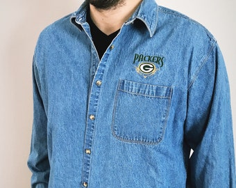 Green Bay Packers Denim Button Up