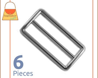 "2 Inch Slide for Straps / Webbing, Shiny Nickel Finish, 6 Pieces, Handbag Purse Bag Making Hardware Supplies, 2"", BKS-AA047"