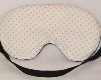 Handmade Pale Pink Polka Dot Cotton Sleep Eye Mask Blindfold Blackout Migraine