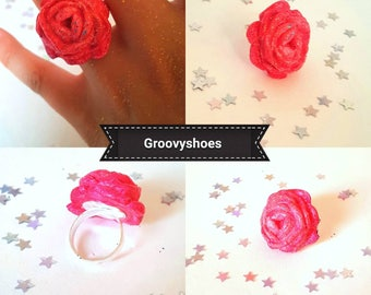 One rose glitter ring. Adjustable ring. Any colour ring. Summer ring. flower ring. Rose ring.