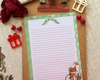 Penny Farthing Santa Writing Paper LINED-Stationery-Note Paper