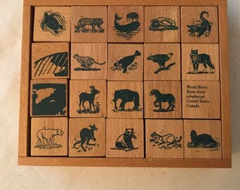 Vintage Wooden Block Set Animal Descriptions on each block