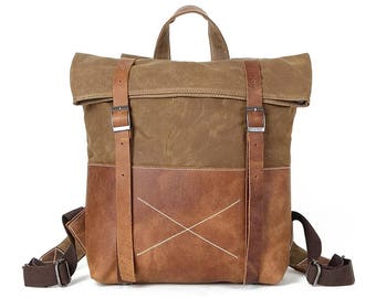 """Usedom 15"""" backpack in canvas and leather"""