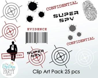 Secret Agent/Spy Digital Scrapbooking Clip Art, Buy 2 Get 1 FREE. Instant Download