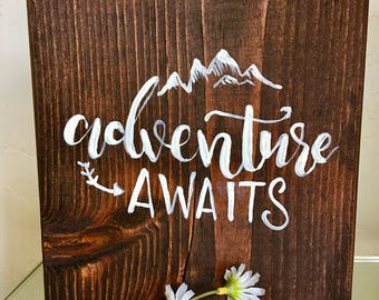 Adventure Awaits Hand Painted Wooden Sign // Home Decor Handlettered Wood Sign // Brush Calligraphy Adventure Quote