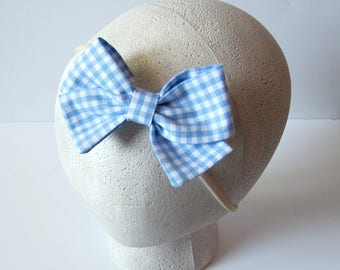 Girly Bow || Blue Gingham Folded Fabric Bow || Nylon Headband or Clip || Girls, Toddler, Baby, Newborn
