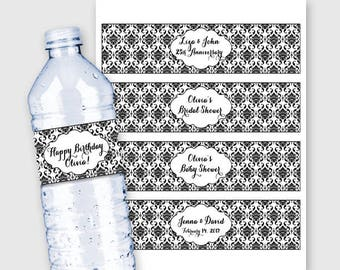 Damask Water Bottle Labels/Wrappers, Customized - Birthday, Wedding, Anniversary, Engagement Party etc. - Printable PDF, More Colors