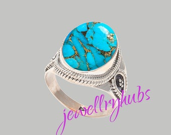 Blue Turquoise Ring, Copper Turquoise Ring, Handmade Ring, Turquoise Stone Ring,925 Sterling Silver, Silver Ring, R24TRB