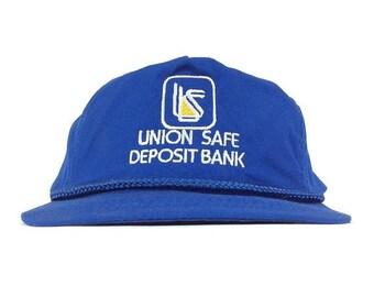 On Sale Now 90s Union Safe Deposit Bank Embroidered Baseball Cap Hat Adjustable Leather Strapback Adult Size