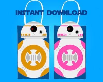 Star Wars BB8 Party Favor Bag Printable, Star Wars Birthday Party Goodie Bag, Star Wars Party Supplies, Star Wars Party Favor