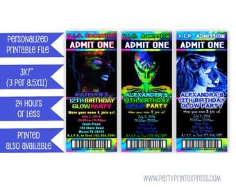Printable Glow Party Invitation - Glow In The Dark Invitation - Neon Party Invitation - Neon Glow Invite - Teen Girl - Teen Boy - Sweet 16