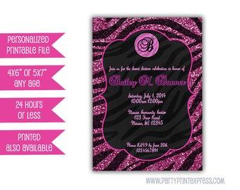 Printable Pink Zebra Invitations - Pink Glitter Zebra Birthday Invitations - Pink and Black Zebra Pattern - Animal Pattern - Girls Birthday