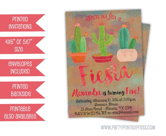 fiesta cactus invitations girl fiesta birthday invitations