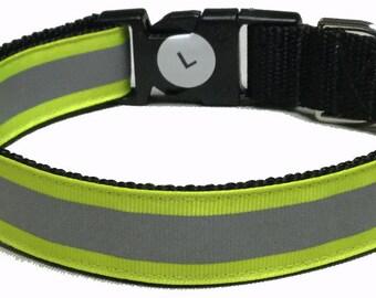Dog Collar, Reflective - Yellow