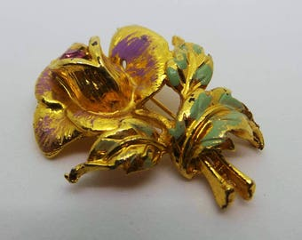 Golden rose brooch, vintage floral brooch , gold rose vintage pin