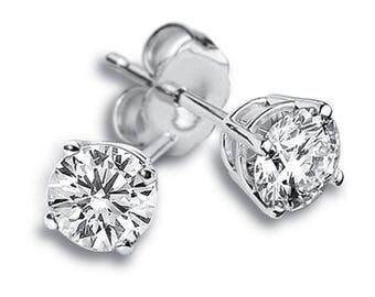14k White Gold Diamond Stud Earrings 0.80 carat Women's Stud Earrings