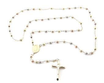 """14k Yellow White And Rose Gold Rosary Cross Necklace Chain 25"""" 14.2 grams"""