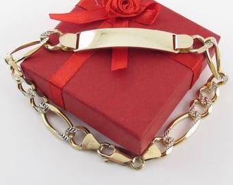"14k Yellow And White Gold Men's ID Figaro Link Bracelet 9"" 22.9 grams"