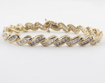 "14K Yellow Gold Diamond Tennis Bracelet S Design 7 1/4"" 3.00 carats"