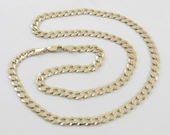 "14K Yellow Gold Cuban Link Chain Necklace 25"" 35.10 grams"