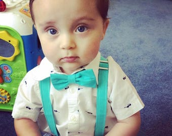 Dark Aqua Suspender and Bow Tie, Adjustable Neck Strap, Clip On OR Nylon Band, Hair Bow, Teal, Aqua, Easter, Spring, Ring Bearer