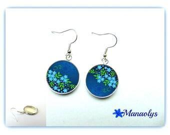 Earrings cabochon glass 744 blue flowers