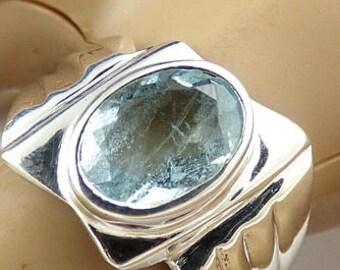 Aquamarine ring aquamarine jewels, natural stone kb40.2 AIGUEMARINE FACETTEE, heart chakra, natural stone ring