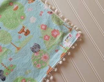 Swaddle blanket,flannel baby blanket,baby girl  receiving blanket,woodland,   pom poms,coral and aqua,forest,baby shower gift,forest animals