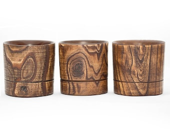 Whisky glass of natural Elm wood (set 3pcs) exlusive handmade WOODEN WHISKY GLASS #WN2