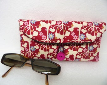 Red fabric sunglasses case bezel woman, red flowers case case