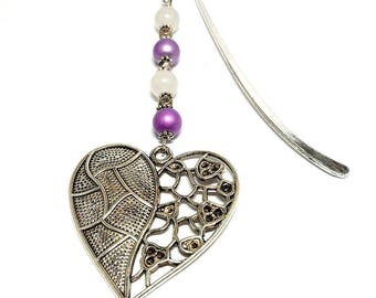 Silver jewelry, purple beads, heart charm bookmark