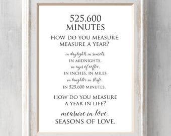 Rent Print. 525,600 Minutes.  How do you measure, measure a year?  Seasons of love.  Broadway.  All Prints BUY 2 GET 1 FREE!