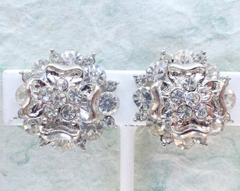 Vintage clip on earrings silver tone clear rhinestones AB805