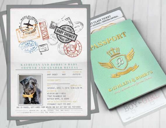 Passport and ticket baby shower invitation coed baby shower il570xn filmwisefo