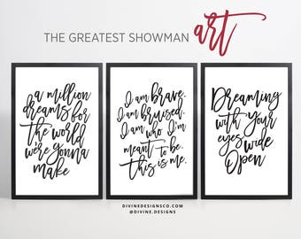 The Greatest Showman Quotes and Lyrics BUNDLE - 9 PRINTABLES - 5 SIZES - Instant Download - Black and White - Greatest Showman Movie Art