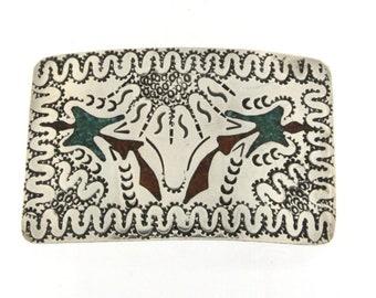 Jerry Cowboy Navajo Sterling Silver Peote Bird Belt Buckle