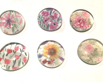 Glass Flat Marble Magnets Floral x6