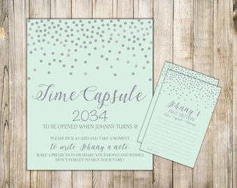 Digital Mint Silver TIME CAPSULE SIGN & Card, Boy 1st Birthday Time Capsule Message, Silver Confetti Time Capsule, Printable Dear Baby Cards