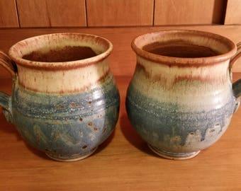 Pottery Hand Thrown Mugs Stoneware Mugs Ceramic Pottery Mugs, Set of 2 Coffee Mug Kitchen Serving Hostess Gift