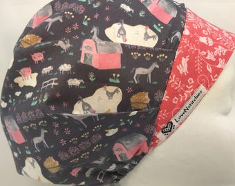 Nantucket Farm Surgical Cap Bouffant Scrub Hats for Women with Horse Farm animals Pink LoveNstitchies Horses Sheep Rabbits Gray Red Red Barn